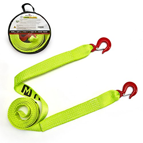 Mozzbi Recovery Towing Straps 4' x 20ft - 30,000lb Break Strength, Included 4.75T D-Ring Shackle, Reinforced Loop End and Protective Sleeves for Extra Protection - Emergency Off Road Tow Strap from