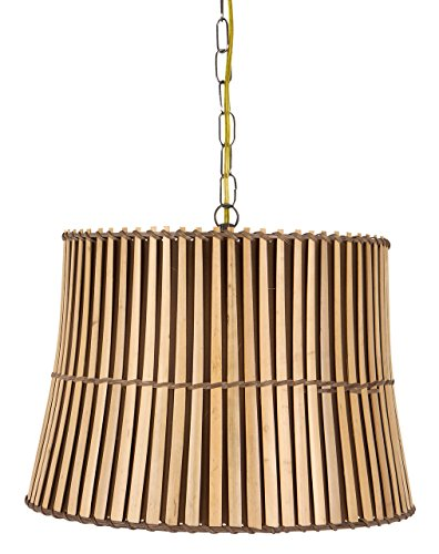Upgradelights Bamboo Swag 16 Inch Lamp Lighting Fixture Hanging Plug-in 13x16x11