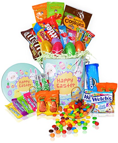Easter Snack Gift Tin Basket - 29 COUNT - Easter Candy, Eggs