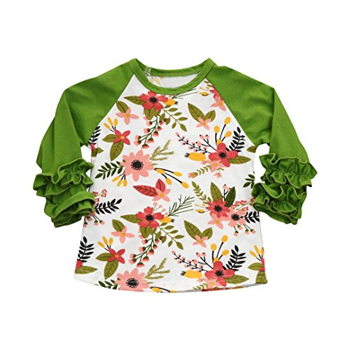 Price comparison product image Peanutcool Toddler Infant Kids Baby Pocket O-Neck Longsleeve Girls Floral Ruffles T-Shirt Tops Clothes Outfits (3T,  Green)