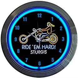 Neonetics Cars and Motorcycles Ride Em Hard Sturgis Neon Wall Clock, 15-Inch