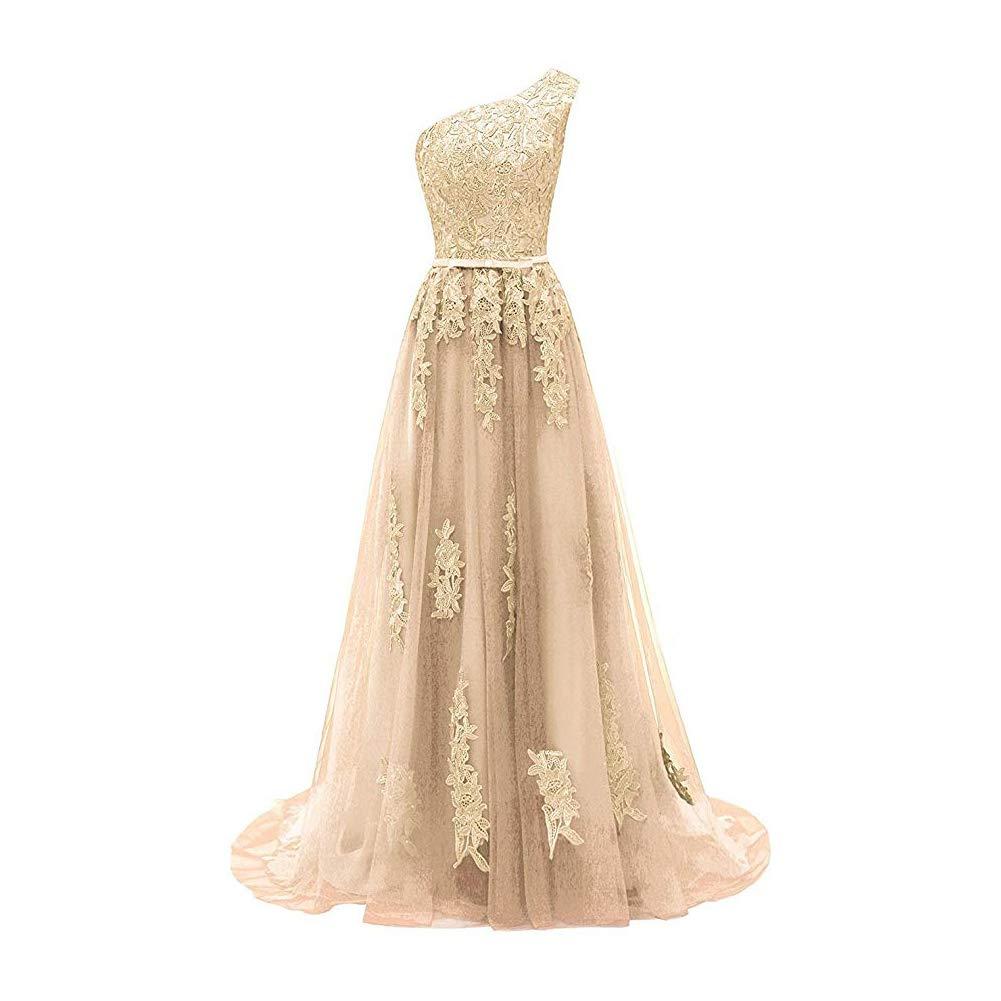 Champagne Liyuke Women's One Shoulder Lace Prom Dresses Long Sleeveless Appliqued Evening Dress