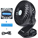 MAYOGA F802 Portable USB Mini Clip Fan / Handheld foldable Charging Lithium-ion Battery Ventilator - Denoising 360 Degree Angle Adjustment Air Flow Control (Black)