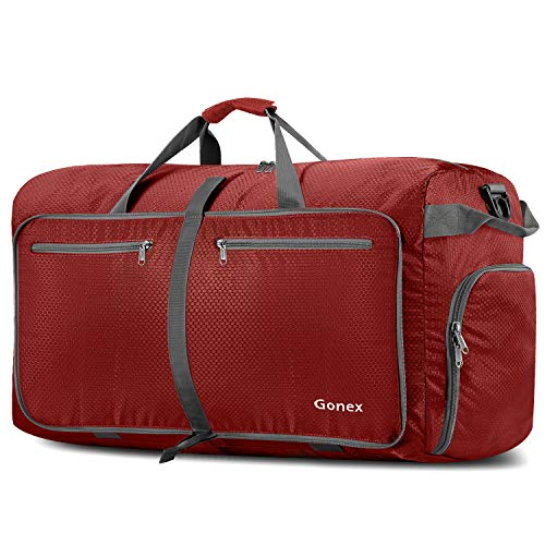 Gonex 100L Foldable Travel Duffel Bag for Luggage Gym Sports, Lightweight Travel Bag with Big Capacity, Water Repellent (Red)]()