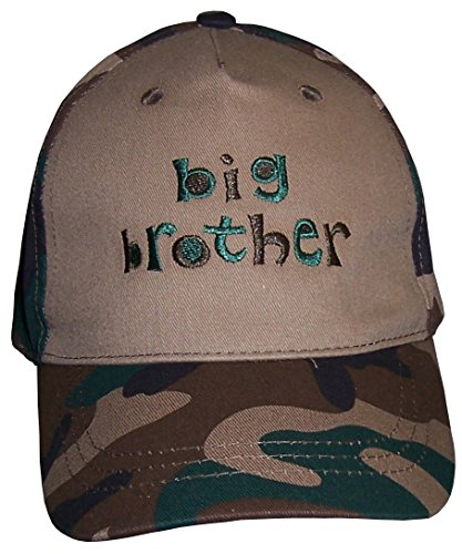 N'Ice Caps Boy Big Brother Embroidered Authentic Baseball Cap (green camo print) -