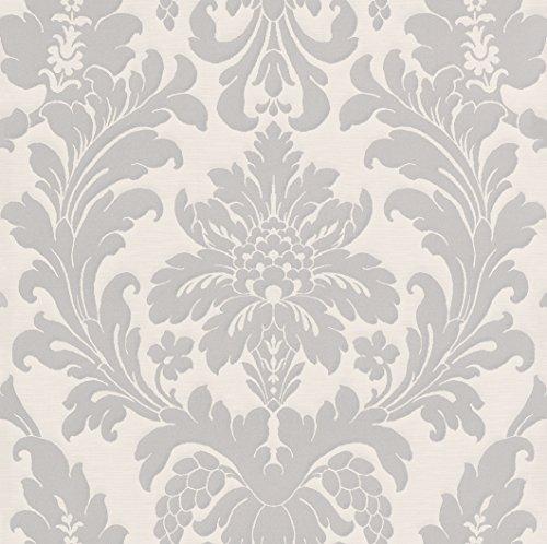 Rasch Papiertapete in perlmuttweiß silber mit Ornamenten 280210