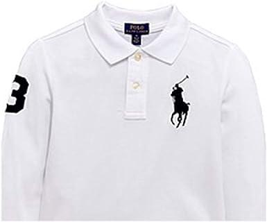 Colore rosa medaglia Cambia vestiti  Amazon.com: Ralph Lauren Baby Boy Big Pony Cotton Long Sleeve Polo Shirt  Size 3 M White: Clothing