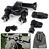 EEEKit 3-in-1 Bike Mount kit for Sony Action Cam HDR-AS15/AS20/AS30V/AS100/Sony Action Cam HDR-AZ1 Mini/Sony FDR-X1000V/W 4K Action Cam Cameras, Adjustable Bicycle Bike Motorcycle Handlebar Holder + Release Plate + EEEKit Storage Pouch