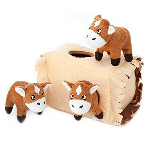 Picture of ZippyPaws Burrow Squeaky Hide and Seek Plush Dog Toy, Horse N Hay