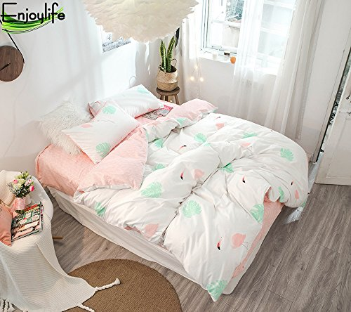 Enjoylife Flower Designed Reversible 3pcs Bedding Set Double