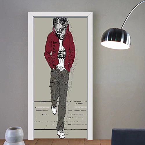 Gzhihine custom made 3d door stickers Modern Decor Lion Tiger Head with Teenager Street Unusual Image Artwork Burgundy White Black and Grey For Room Decor 30x79 by Gzhihine