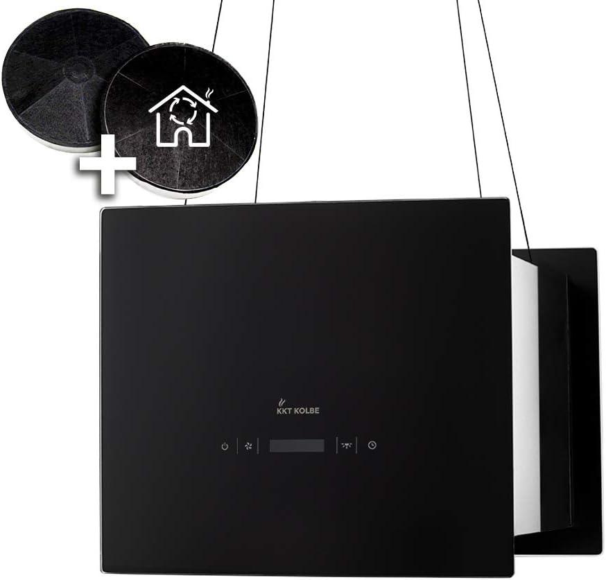 Campana extractora de diseño en isla (40 cm, acero inoxidable, cristal negro, extra silenciosa, 4 escalones, iluminación LED, teclas de sensor TouchSelect) BOX400S - KKT KOLBE