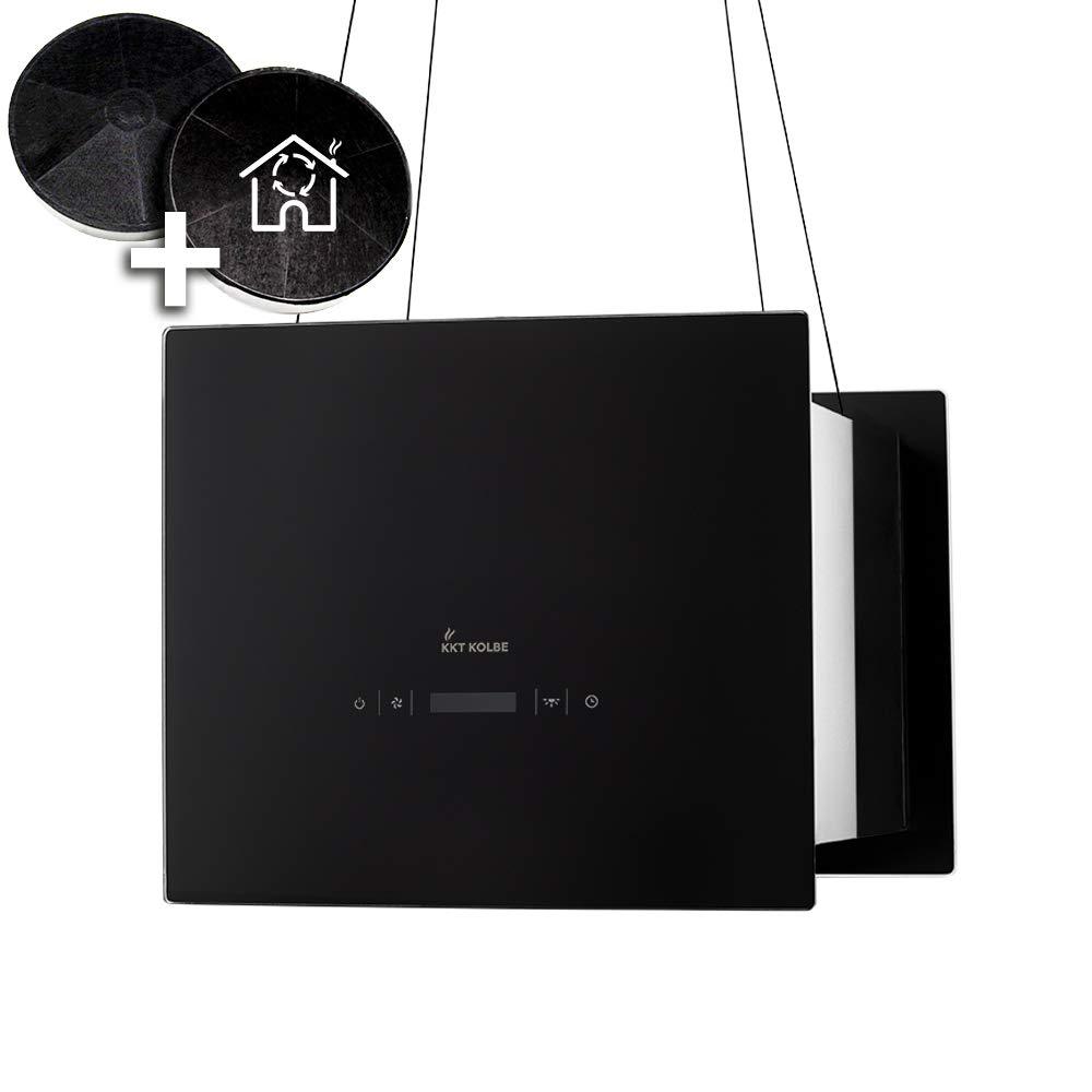 Campana extractora de dise/ño en isla KKT KOLBE BOX400S 40 cm, acero inoxidable, cristal negro, extra silenciosa, 4 escalones, iluminaci/ón LED, teclas de sensor TouchSelect