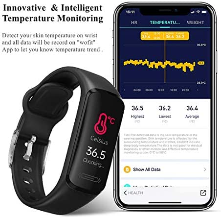 2021 Version Fitness Activity Tracker Watch for Teens Women Men, Body Temperature Heart Rate Sleep Health Monitor Pedometer Steps Calories Counter Smart Watch IP68 Waterproof (Black) 5