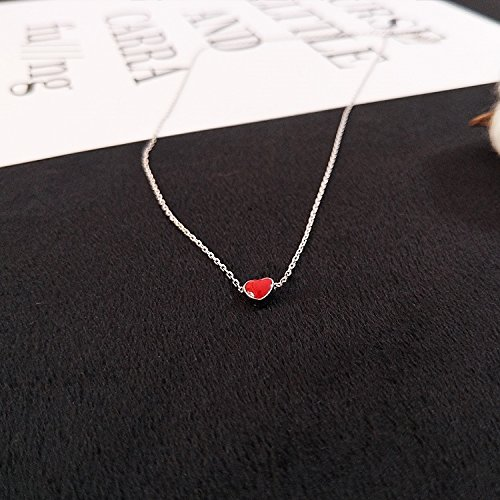 Heart India. Hand Little red Hearts s925 Silver Necklace Pendant Short Clavicle Chain. Individually Wrapped Gift by PAGIPEN