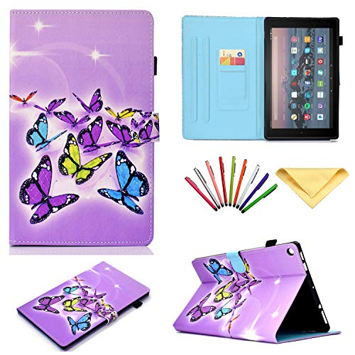 Uliking Kindle Fire HD 10 Tablet Case (7th/5th Generation, 2017 & 2015), Smart PU Leather Folio Stand Cover Card Slots Pencil Holder [Auto Sleep/Wake] Amazon Fire HD 10.1