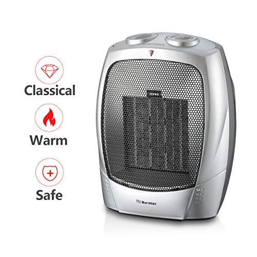 Warmtec 1500W Ceramic Space Heater with Adjustable Thermostat Small Tabletop/Floor Electric Heater (Silver)