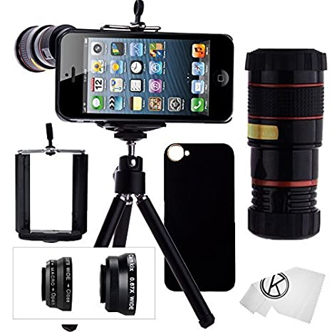 Juego de Lentes para Camara iPhone 5/5S incluye Lente Telefoto 8x / Lente Ojo de Pez ...