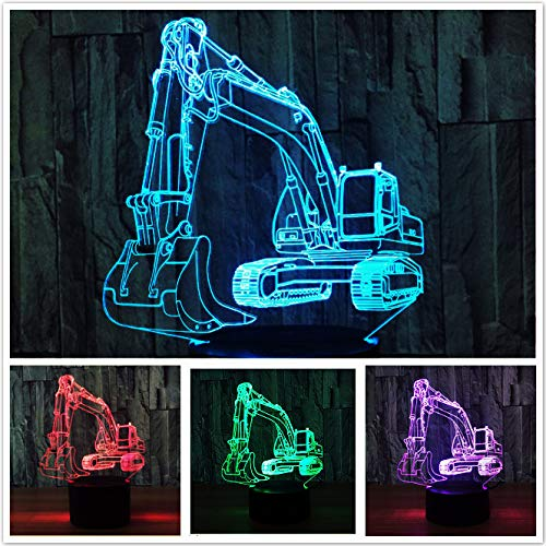 3D Excavator Truck Car Night Light Table Lamp Decor Table Desk Optical Illusion Lamps 7 Color Changing Lights LED Table Lamp Xmas Home Love Brithday Children Kids Decor Toy Gift ()