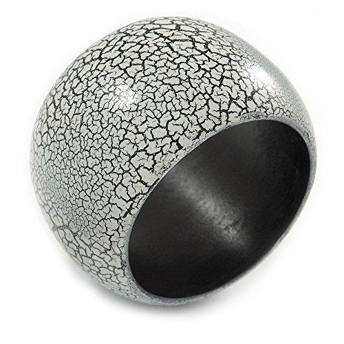 Avalaya Wide Chunky Cracked Effect Wood Bracelet Bangle (White/Black) - Medium - 19cm L ()