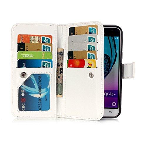 Sunroyal ® para Samsung Galaxy J3 SM-J300F (2015 Edicion) Funda Ultra Slim PU Cuero Flip Caso Leather Case Wallet Card Cubierta Caja Protectora Soporte [Billetera con Tapa para Tarjetas] Carcasa con S D-08