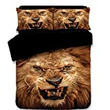 Koongso 3D Lion Digital Print Bedding Sets Reversible 3 Pieces Animal Print for Kids Boys Teens Duvet Cover Set,Twin/Full/Queen/King Size