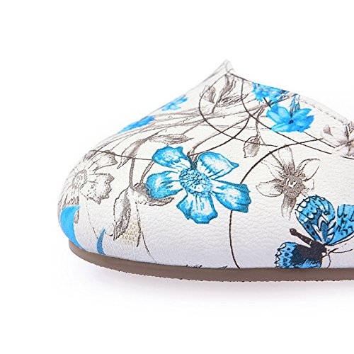 Polyurethane Sandals Toe Round Buckle Print Blue Animal Womens 1TO9 wx1q0Yff