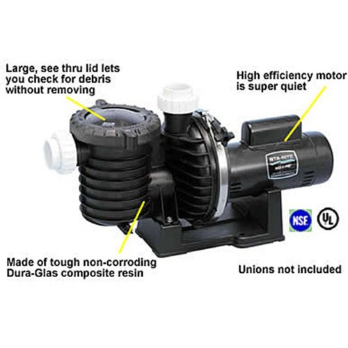 Pentair Sta-Rite P6E6G-208L Max-E-Pro Energy Efficient Single Speed Full Rated Pool and Spa Pump, 2 HP, 230-Volt by Pentair
