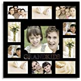 Adeco 11 Openings Decorative Black Wood ''GRANDKIDS'' Wall hanging Collage Family Picture Photo Frame - Made to Display Eight 4x6, Two 4x4, and One 8x10 Photos