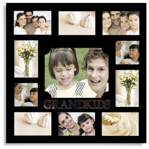 Adeco 11 Openings Decorative Black Wood ''GRANDKIDS'' Wall hanging Collage Family Picture Photo Frame - Made to Display Eight 4x6, Two 4x4, and One 8x10 Photos by Adeco