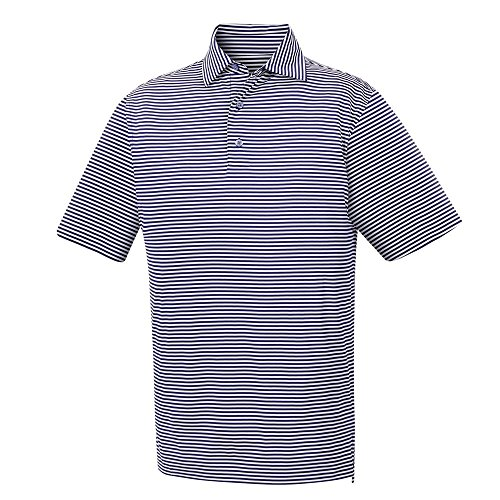 メンズFootjoy Lisle Feeder Stripe Self Collarゴルフシャツ