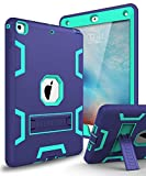 XIQI New iPad 9.7 2018 Case,iPad 6th Generation Case Three Layer Kickstand Armor Defender Heavy Duty Shock-Absorption Rugged Hybrid Protective Case for Apple iPad 9.7 2017/2018 Release,Navy Blue Green