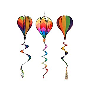 Syhonic 3Pcs Rainbow Windsock Hot Air Balloons Wind Spinner - Outdoor Whirligig Toy Garden Lwan Yard Home Decoration Ornament - Colorful Kinetic Hanging Decoration