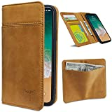 iPhone X Case Wallet, FRIFUN Magnetic Detachable Case iPhone X Real Cow Leather Handmade Thin Cover, 3 card slots & 3 Bill Pockets, Flip Case for Apple iPhone X/iPhone 10 (Brown)