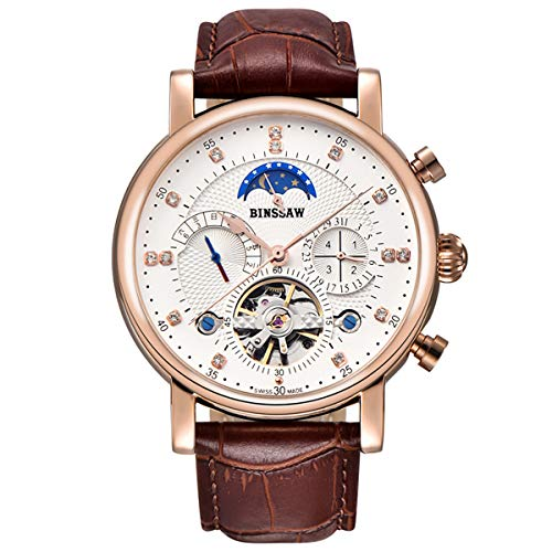 Mechanical Movement Steel Sport Watch - BINSSAW Men Tourbillon Automatic Mechanical Watch Luxury Brand Leather Fashion Casual Stainless Steel Sports Watches for Male