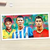 NEYMAR MESSI RONALDO - Painting Giclee CANVAS PRINT by Stas Studio (XLarge / ROLLED in a tube)
