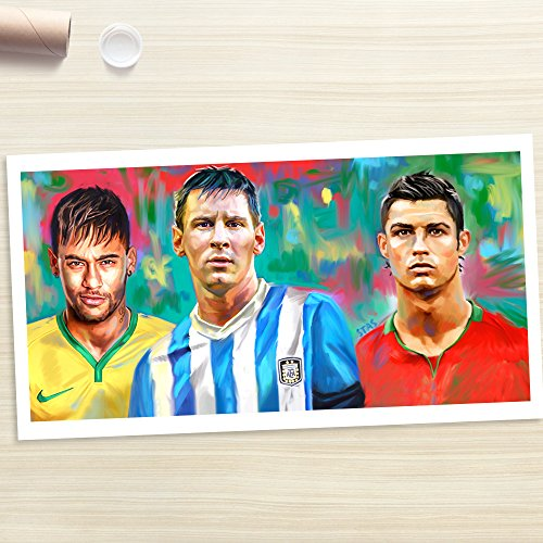 NEYMAR MESSI RONALDO - Painting Giclee CANVAS PRINT by Stas Studio (XLarge / ROLLED in a tube) by STAS Studio