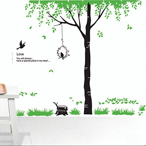 ORDERIN Christmas Gift Wall Stickers New Style Green Tree Birds Fly Removable Mural Wall Decal for Kids Room and Wall Home Decor
