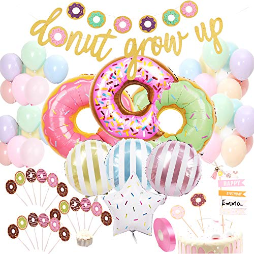 Donut Birthday Party Decorations Kit Donut Grow Up Banner Mylar Foil and Latex Balloons Cupcake and Cake DIY Toppers for Donut Birthday Party Decorations