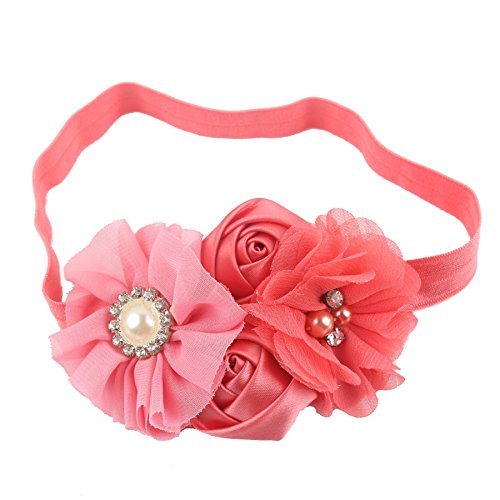 Queengirls Baby Girls Flower Headbands coral
