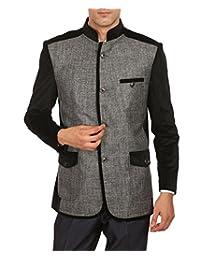 Wintage Men's Rayon Grandad Collar Party Grey Bandhgala Blazer Coat