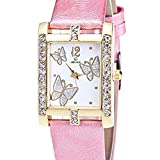 Fashion Clearance Watch! Noopvan Butterfly Watches for Women,Crystal Analog Lady Watches Female Watches on Sale Wrist Watches for Women Rectangle Leather Watch-A136 (Pink)