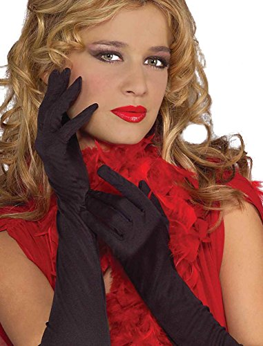 Red, Black or White Ruffled Long Gloves - Black (Steampunk Snow White Costume)