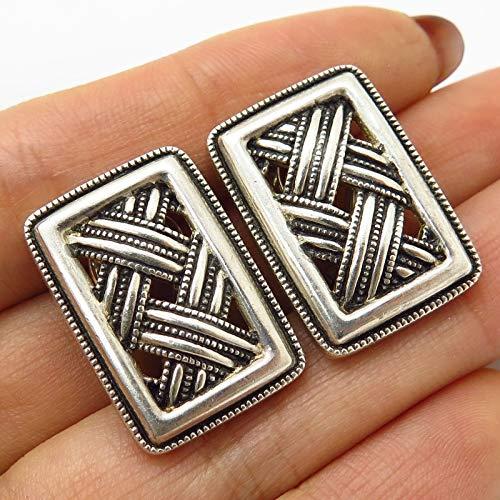 VTG Judith Jack 925 Sterling Silver Weave Woven Design Omega Back Earrings ()
