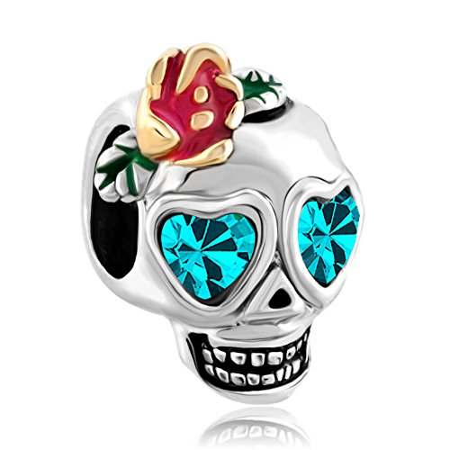 LovelyJewelry Skull Dia De Los Muertos Charms Blue Crystal Beads For (Pandora Style Bracelet)