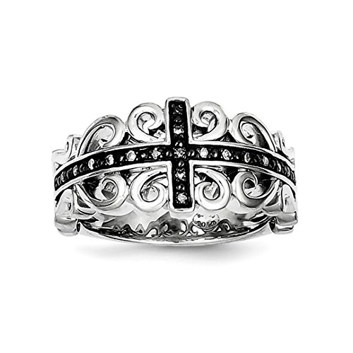 (925 Sterling Silver Diamond Black Cross Religious Band Ring Size 8.00 Fine Jewelry Gifts For Women For Her )