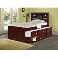 DONCO Kids 250-TCP Bookcase Captains Bed, Twin, Dark Cappuccino