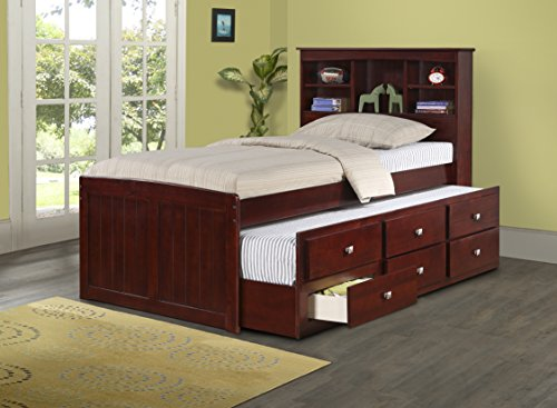 Donco Kids 250-TCP Bookcase Captains Trundle Bed, Twin/Twin, Dark Cappuccino