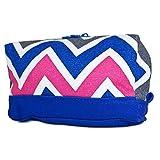 Ever Moda Royal Blue Multicolor Chevron Cosmetic Makeup Bag