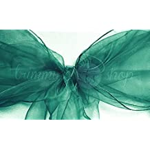 Trimming Shop 100 Organza Sash For Chair Covers - Decorative Full Bow For Wedding, Anniversary And Parties - Colourful Ribbon For Seats (Teal Green)